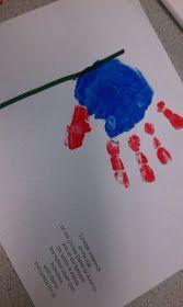 Pledge of allegiance handprint flags.