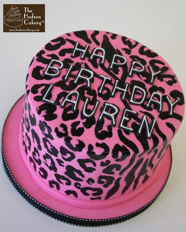 Super 34 Pretty Image Of Cheetah Print Birthday Cakes With Images Personalised Birthday Cards Veneteletsinfo