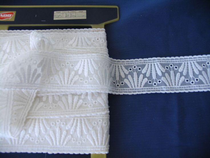 ADO Borte Spitzenborte Zierband Weiss B 5cm Meterware FGardinen Tischdecken