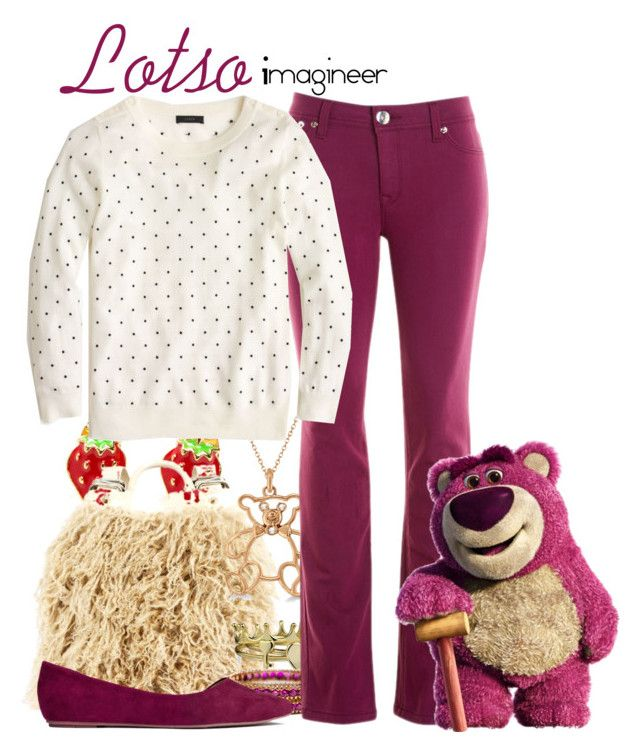"""""""Lotso (Toy Story 3)"""" by claucrasoda ❤ liked on Polyvore featuring Ruxx, Bling Jewelry, Allurez, DL1961 Premium Denim, H&M, J.Crew and coloredjeans"""