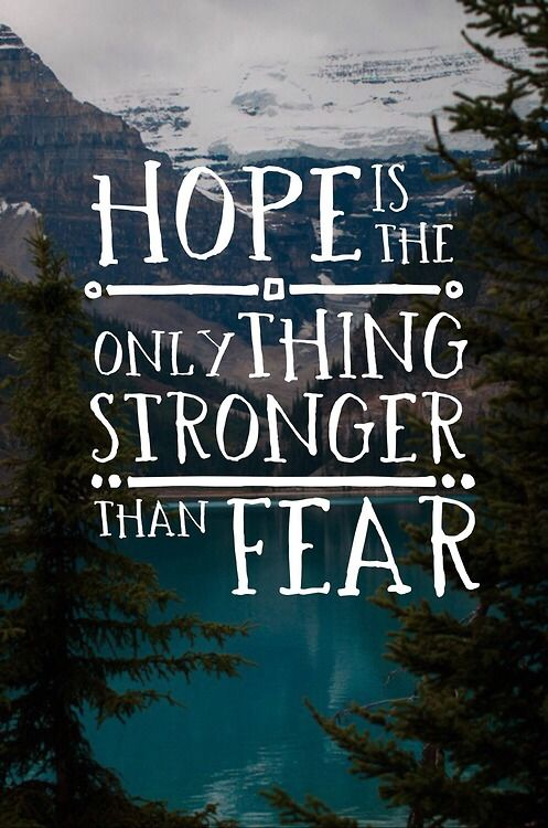 """ Hope is the only thing stronger than fear."" Let your hopes guide you. #edrecovery #RecoveryQuotes #inspirational"