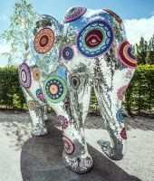 Impressive Indian elephant during the Summer Festival at Swarovski Crystal Worlds in Wattens, Tyrol