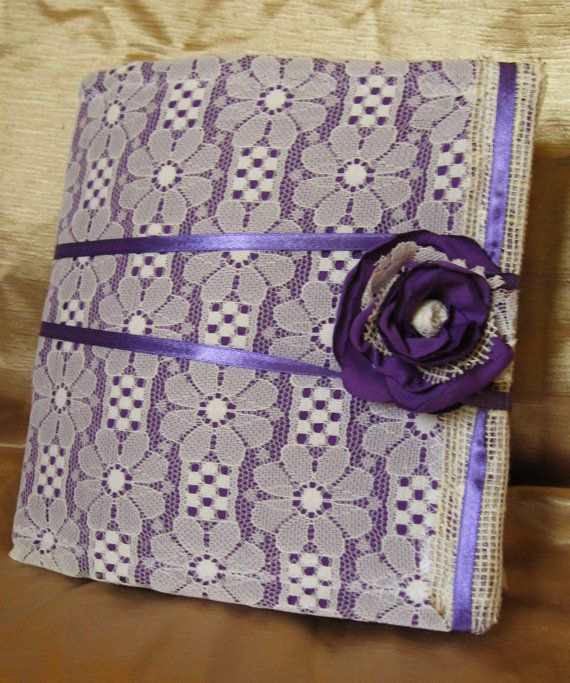 Lace Rustic Wedding Guest Book Flower Purple Fabric Flower First Anniversary Gift Idea Coffee Tea Stain hand dyed paper DIY