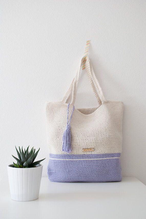 Crochet shoulder bag lilac and cream  spring от MyLovelyHook
