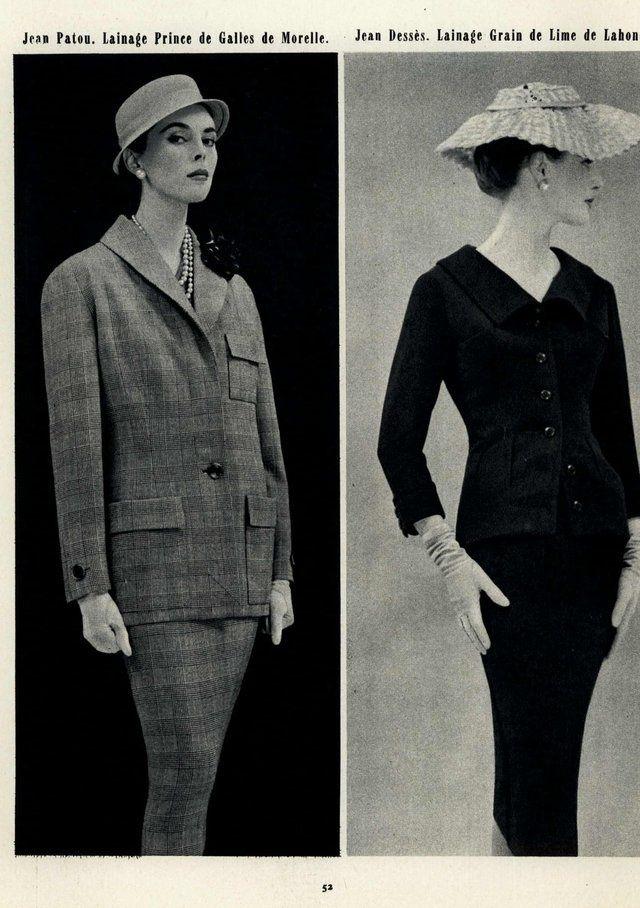 Jardin des Modes Editorial 1955, Jean Patou and ...   Vintage Fashion