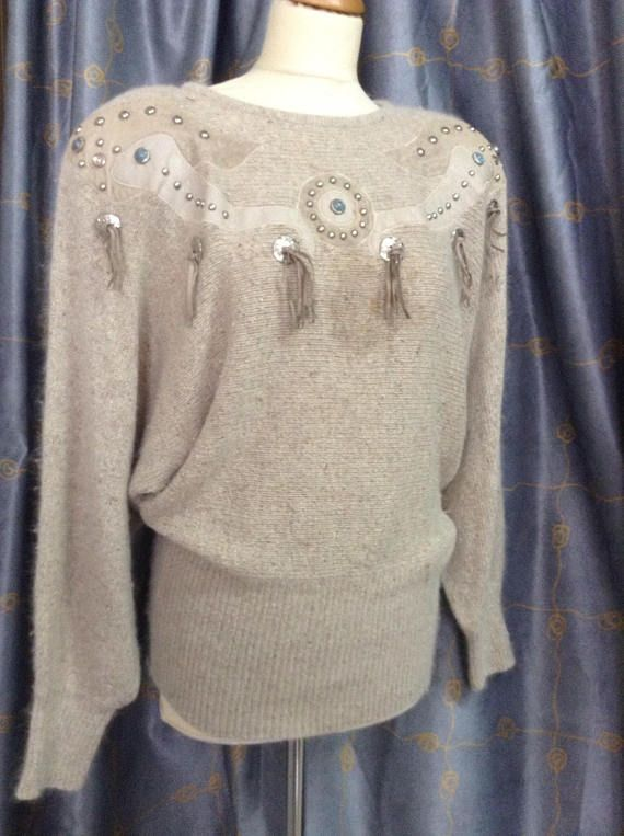 80's Angora Leather Sweater I.B Diffusion brand suede
