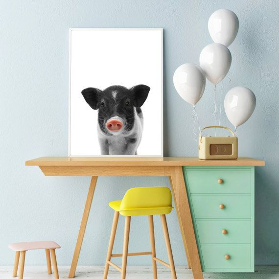 Baby animal print, Pig print, PRINTABLE art, Nursery animal print, Cute pig poster, Nursery decor, Nursery wall art, Kids art, Baby animal
