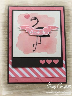 Display board samples from OnStage Auckland 2016, created by Emily Campbell.  Featuring Pop of Paradise and the 2016-2018 In-colours.  This card uses Flirty Flamingo.