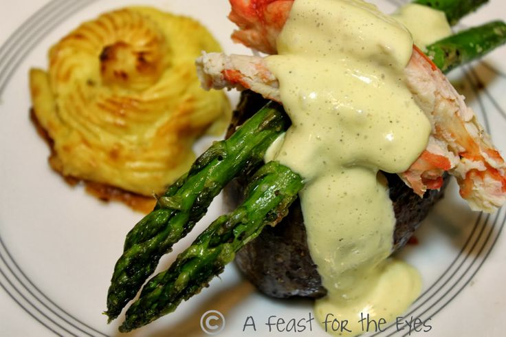"""Surf & Turf: Steak Oscar with Duchess Potatoes - My """"I Love You"""" Romantic Dinner at Home... A perfect Valentine's dinner for two."""