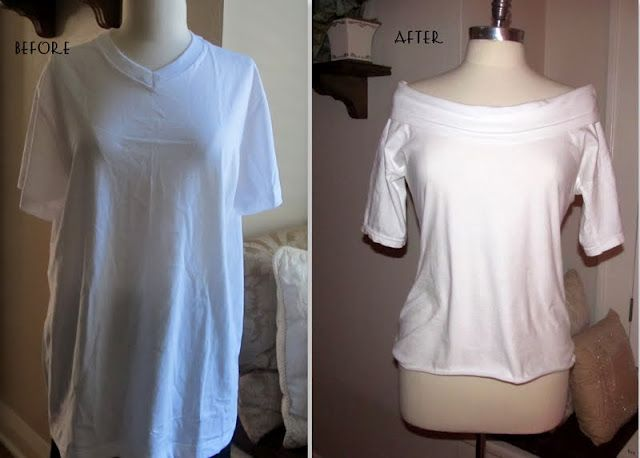 White Tee into a boat neck shirt tutorial