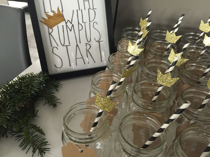 Where the wild things are first birthday party wild rumpus mason jars gold crowns paper straws diy card stock