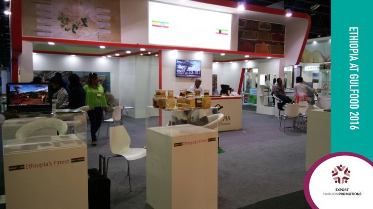 Ethiopian companies exhibiting at the Gulfood 2016 trade show. Gulfood has reported that Ethiopia scored over US$3 million in sales.  The Office of the Consulate General of Federal Democratic Republic of Ethiopia in Dubai closed purchase orders to the amount of 3350 Metric Tons consisting of pulses, oil seeds and coffee, the value of which comes to more than US$3 million............................ #exportpavilionpromotions #exporttrade #gulfood2016 #tradeshow #ethiopia  #dubaitrade…