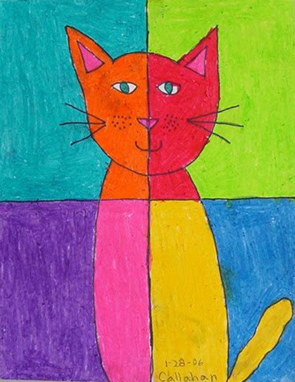 Turn a simple drawing into an Abstract Art Cat by dividing the page into quarters, and changing colors. Color neatly with oil pastels.