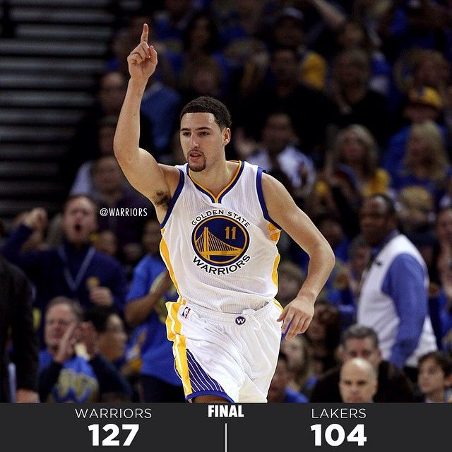 The 2014-15 season on #WarriorsGround started with a SPLASH. Klay Thompson scored 28 of his career-high 41 points in the second half and Stephen Curry (31 points, 10 assists) logged his second-straight double-double to open the season in tonight's 127-104 victory over the @LALakers. The victory puts the #Warriors at 2-0 on the young season and they'll be back in action tomorrow in Portland before coming home to host the Clippers on Wednesay. Visit warriors.com for tickets. #BeatLA