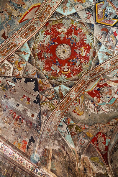 Beautiful murals lining the walls and ceiling of the Badal Mahal, also known as the Palace of the Clouds, built by Rana Fateh Singh in the 19th century, located inside the Garh Palace of Bundi