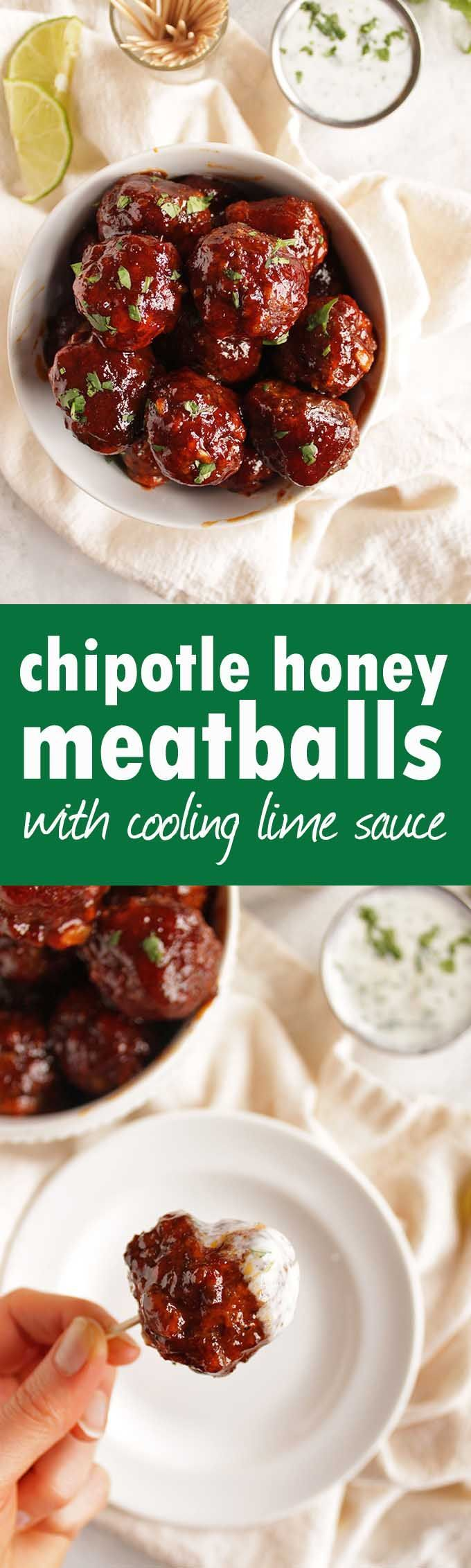 Spicy chipotle honey meatballs with cooling lime cilantro sauce - The perfect appetizer recipe for any party. Spicy, sweet, and smoky with a cooling cilantro lime sauce. Super easy to make. (Gluten Free) | robustrecipes.com