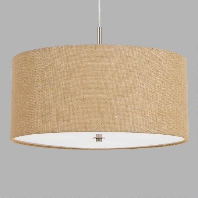 Small Natural Burlap Drum 3 Light Billie Pendant Lamp Pendant