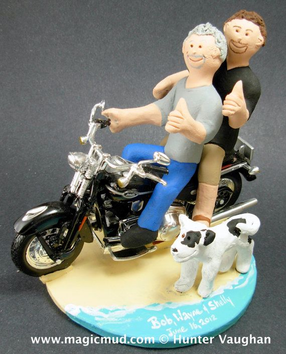 Same Sex Motorcycle Wedding Cake Toppers custom made for same sex weddings!...handmade to order to your specifications. Gay Wedding Cake Topper    $250   #magicmud   1 800 231 9814   www.magicmud.com