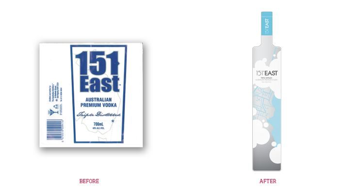 Australian Distilleries approached Stella Design to update their flagship vodka product 151 East Vodka. 151 East Vodka had enjoyed success internationally. The owners were looking to boost the vodka's image  sales domesticly. Stella Design recommended 151 East update the brand, creating a cool, hip label that would be seen in all the right places  desired by vodka drinkers. The label focused on the name, a reference to the location of the distillery.