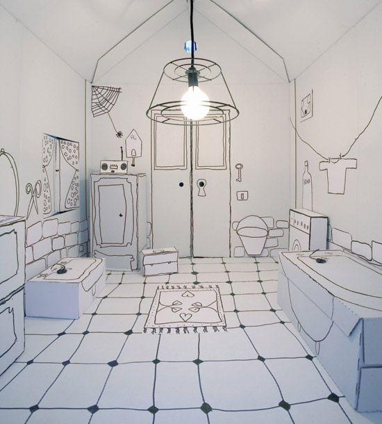 MsCardboard House, Inspiration, Offices Design, Interiors, Illustration, Bathroom, Line Drawing, Paper House, Line Art