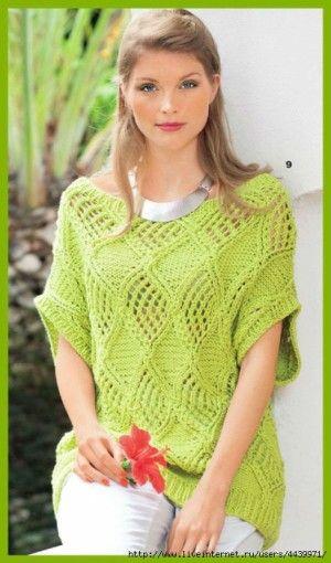 Озорные петельки: Пуловер ажурными ромбами