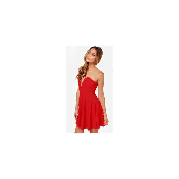LULUS Exclusive All Good Things Strapless Red Dress ❤ liked on Polyvore featuring dresses, slip on dress, skater skirt, red skater skirt, red circle skirt and strapless cocktail dresses