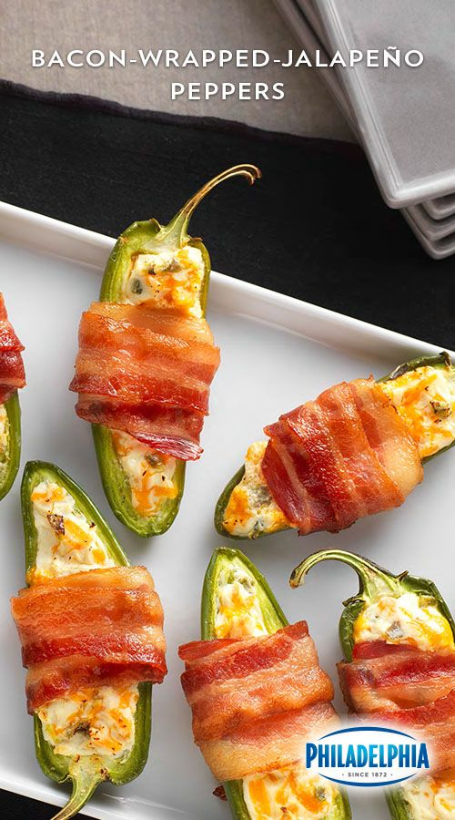 May your taste buds revel in victory with these Bacon-Wrapped Jalapeño Peppers. PHILADELPHIA Spicy Jalapeño Cream Cheese Spread and KRAFT Shredded Sharp Cheddar Cheese mixed together, then stuffed into jalapeño pepper halves. Which are then wrapped in OSCAR MAYER Bacon and cooked until the bacon is crispy. Victory is yours!