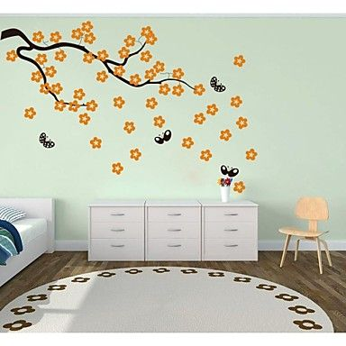 jiubai® δέντρο κινουμένων σχεδίων λουλούδι και πεταλούδα τοίχων decal τοίχο αυτοκόλλητο – EUR € 36.46