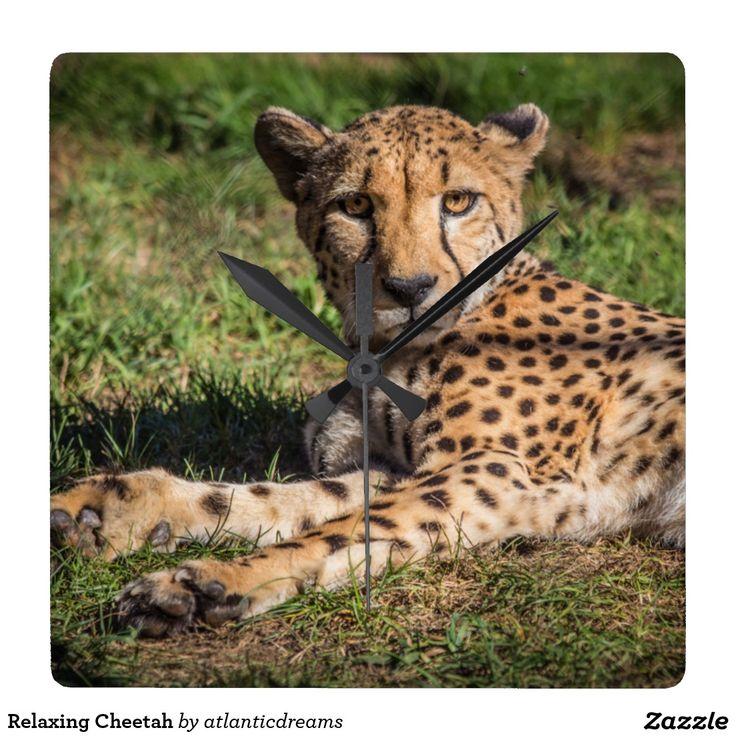 Relaxing Cheetah Square Wall Clock