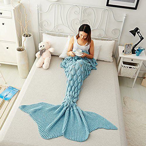 "URSKY Mermaid Blanket Crochet and Knitted, Mermaid Tail Blanket Sofa Throw Quilt Sleeping Bag For Adult, Teens, Child Christmas Gift (71""x35.5"", Scale Large Tail Lake Blue) - $23.99"