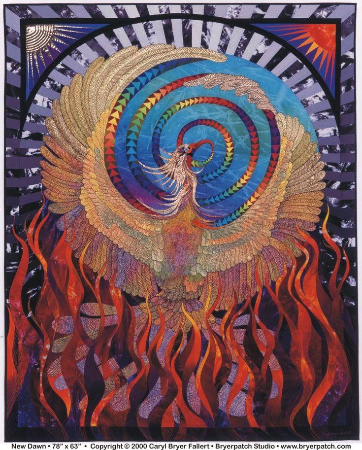 New Dawn, golden phoenix art quilt by Caryl Bryer Fallert: August, 2000