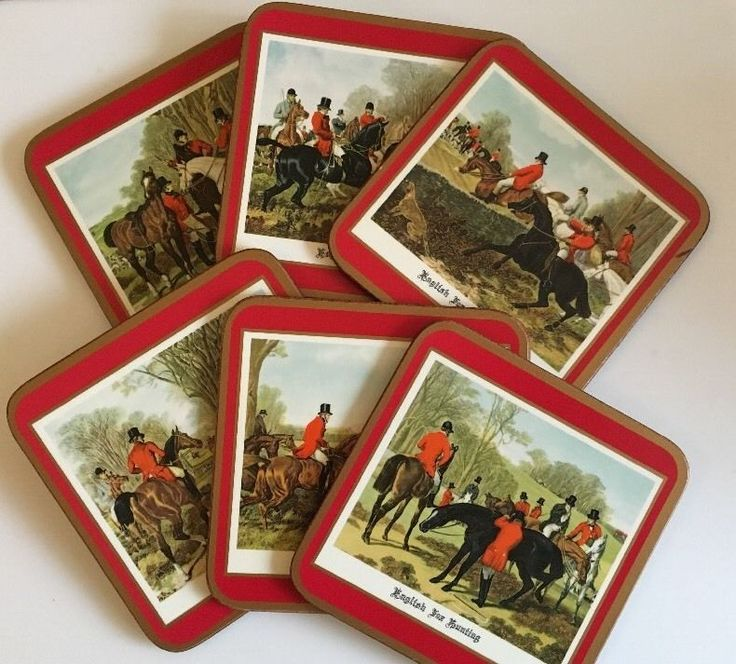 Pimpernel Traditional Coasters English Fox Hunting Box of 6 Cork Backed   eBay