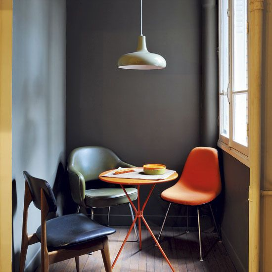 Wall Colors, Kitchens Colors, Breakfast Nooks, Chairs, Interiors Design, Grey Wall, Colors Palettes, House, Small Spaces