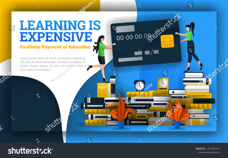 illustration of learning is expensive. students holding credit cards on piles of…