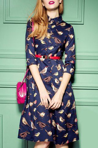 Navy dress with birds & red belt