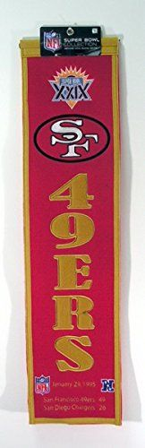 NFL San Francisco 49ers Super Bowl XXIX Banner  https://allstarsportsfan.com/product/nfl-san-francisco-49ers-super-bowl-xxix-banner/  A uniquely hand-crafted, vintage style, wool banner featuring intricate embroidery and applique design detail. Genuine wool blend fabric. This unique wool, vintage style banner is decorated with distinctive embroidery and applique detail, and highlights past Super Bowl Champions. Ideal as a gift or for decorating an office, gameroom or bedroom.
