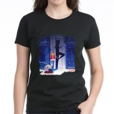 Spider-Gwen Street Shadow T-Shirt. In #SpiderGwen, #MaryJane and #GwenStacy start a rock band called #TheMaryJanes. This design features Gwen Stacy leaning against a wall, with her drums for The Mary Janes next to her and the silhouette of Spider-Gwen behind her.