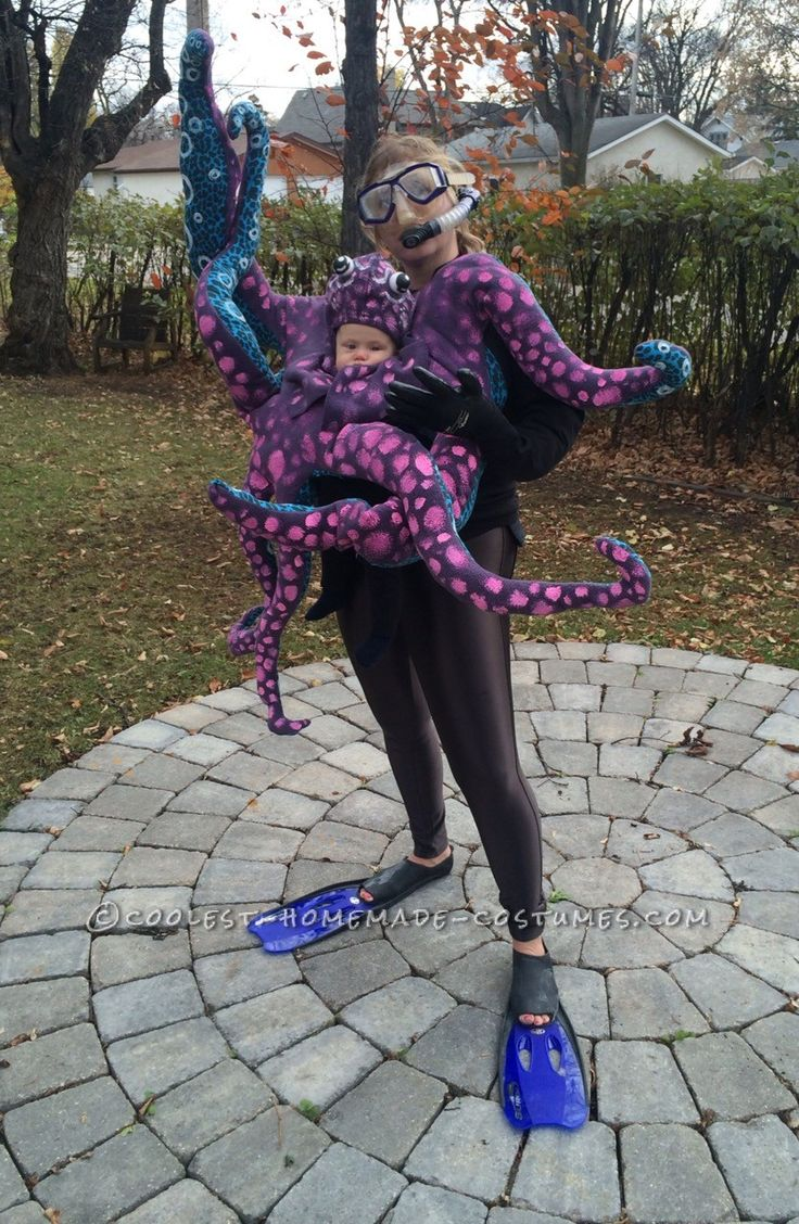 2014 Halloween Costume Contest Runner-Up. Crazy Baby Octopus Costume With Moving Tentacles submitted by Nicole from Winnipeg, Canada