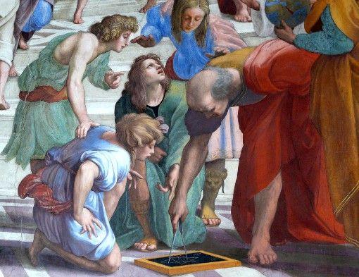 non è opera sua ..ma le fattezze del personaggio che rafigura Euclide ( è quello che scrive sulla lavagna ) sono secondo la tradizione le sue