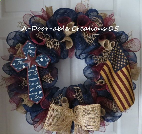 AMERICAN PRIDE..Primitive/Country/Vintage..Burlap..Cross..Tea Stained American Flag..Deco Mesh Wreath