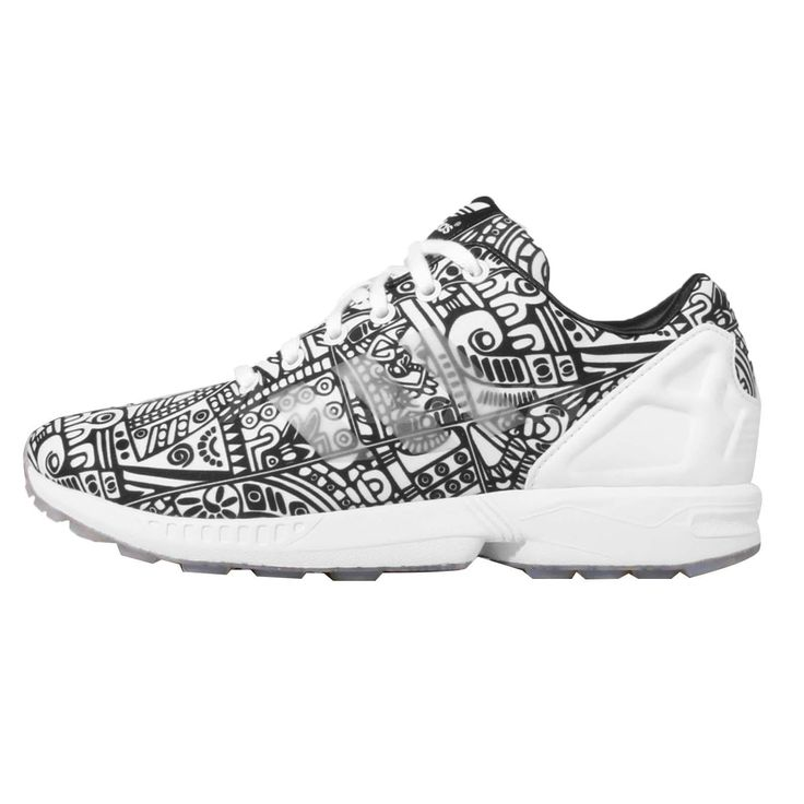 Adidas Originals ZX Flux Black White Diamond Ripstop Mens Running Shoes AQ5461