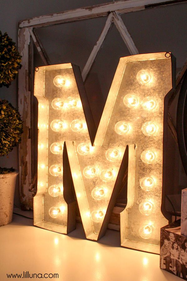 DIY Marquee Letter - simple tutorial using Hobby Lobby Metal Letters + globe lights (cost about $20.00 with 50% off coupons)