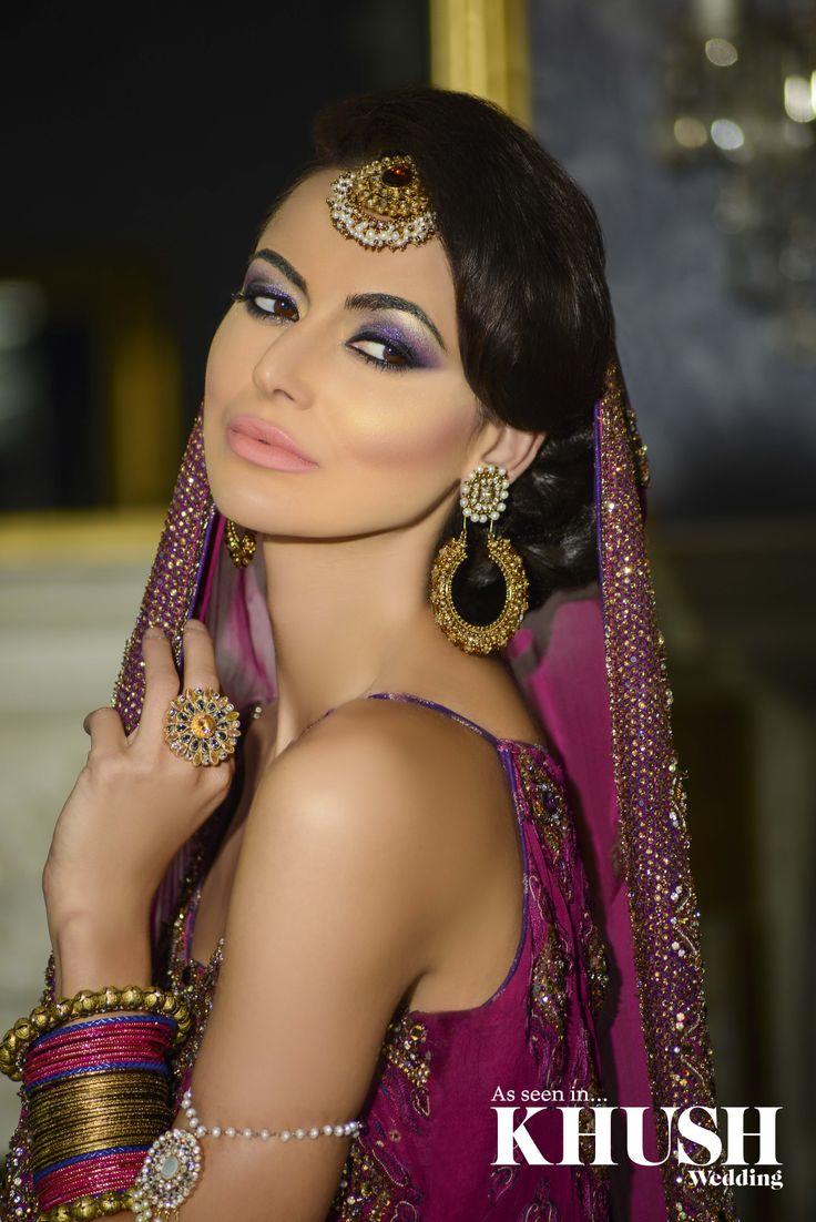 Deep Purple eyes with Peach lips by Al Bidaya Makeup Artist by Aliyah  T: +44(0)7402 143 119 E: al-bidaya@hotmail.co.uk  As seen in the Autumn 2013 Issue of Khush Wedding Magazine