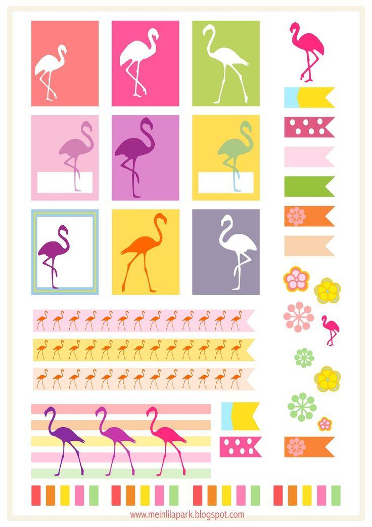 MeinLilaPark – DIY printables and downloads: Free printable flamingo planner stickers - ausdruckbare Etiketten - freebie