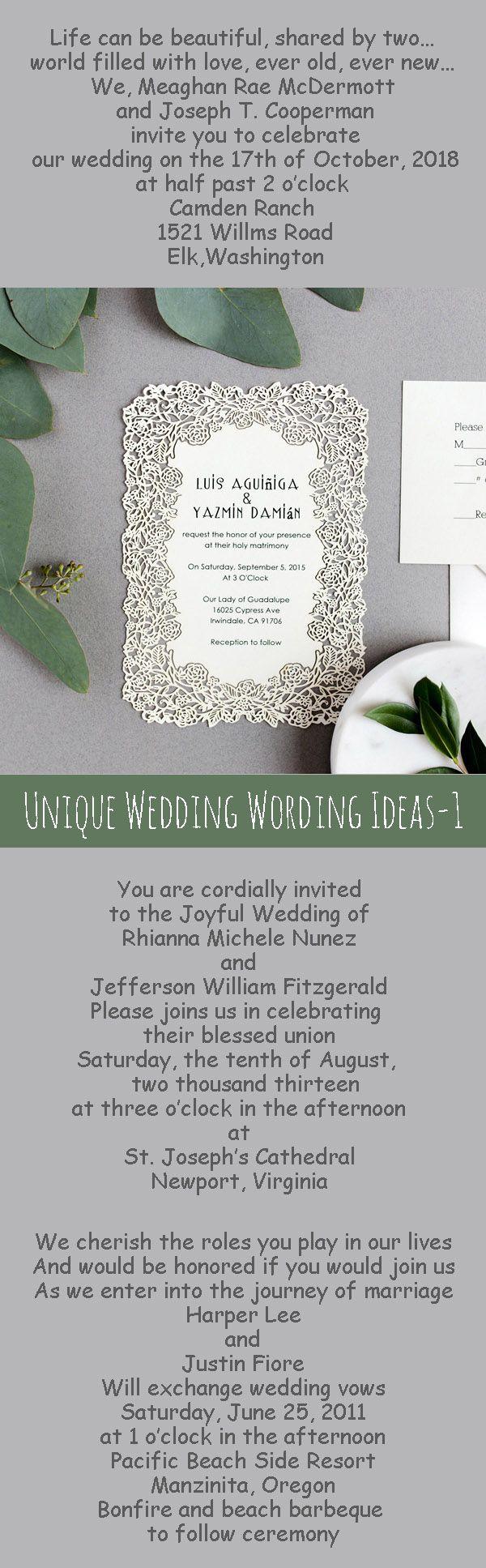wedding invitation wording for hindu marriage%0A    Unique Wedding Invitation Wording Ideas
