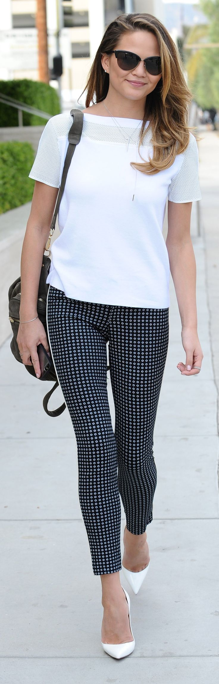 A printed pant is such a fun twist on a classic look. (Chrissy Teigen)