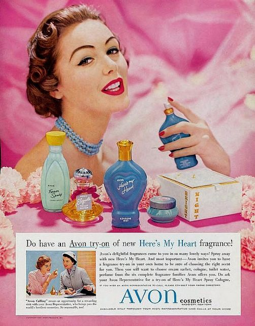 I adore her classic 1950s hair and beautiful make-up. #vintage #1950s #Avon #cosmetics #perfume #ad