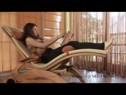 Wellnessliege SIESTA NATUR von First Class Holz (Saunaliege, Relaxliege) - YouTube