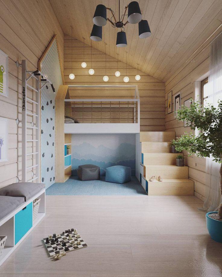 #детская в доме из бруса. Совместно со студией @forlife_designstudio. #интерьер #дизайн #дизайнинтерьера #интерьердетской  #детскаякомната #рендер #виз #Визуализация #design #interiordesign #interior #kidsroom #nursery #render #viz #visualization