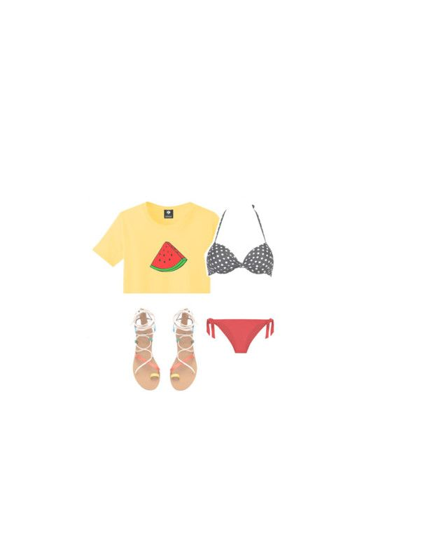 """watermelon-y"" by ksasya on Polyvore featuring WithChic, Summer, contest, 2016 and summer2016"